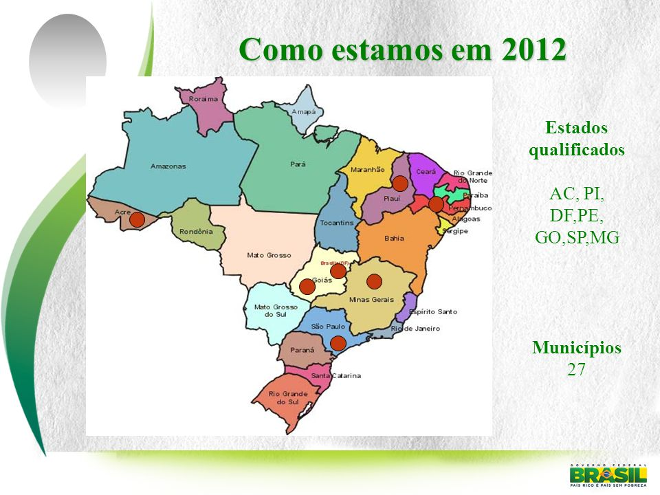 Como estamos em 2012 Estados qualificados AC, PI, DF,PE, GO,SP,MG Municípios 27