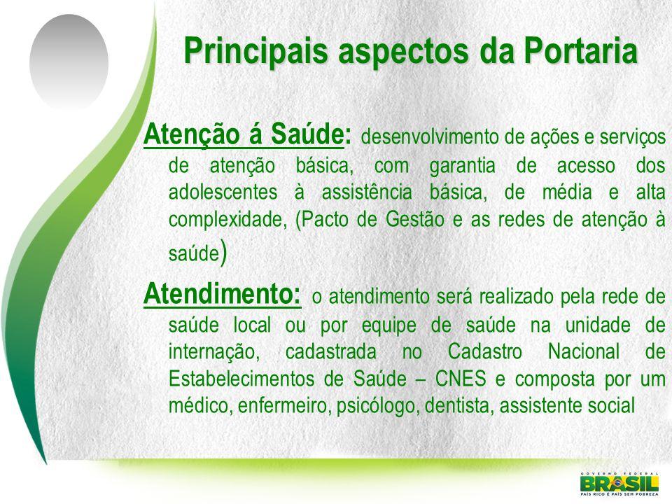 Principais aspectos da Portaria Atenção á Saúde: desenvolvimento de ações e serviços de atenção básica, com garantia de acesso dos adolescentes à assi