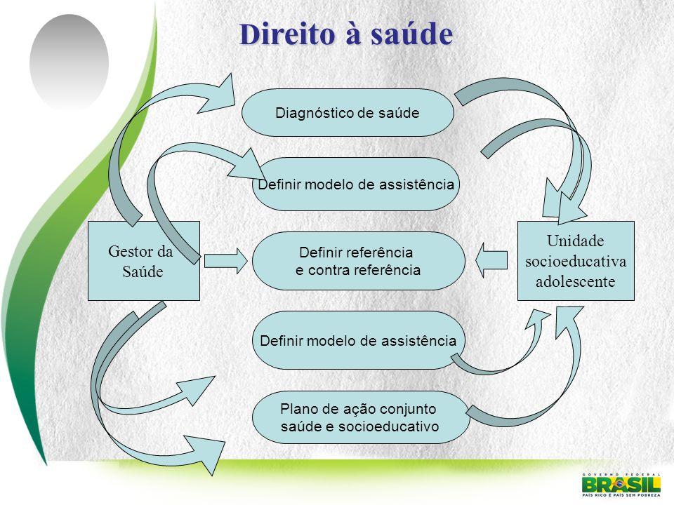 Gestor da Saúde Diagnóstico de saúde Definir modelo de assistência Definir referência e contra referência Unidade socioeducativa adolescente Definir m