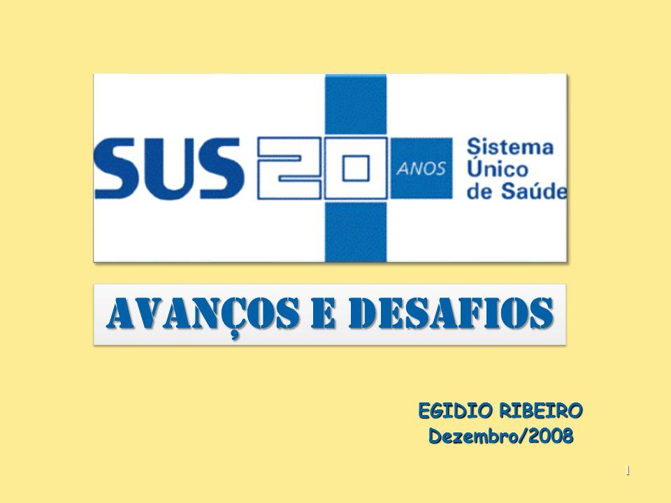 1 AVANÇOS E DESAFIOS EGIDIO RIBEIRO Dezembro/2008