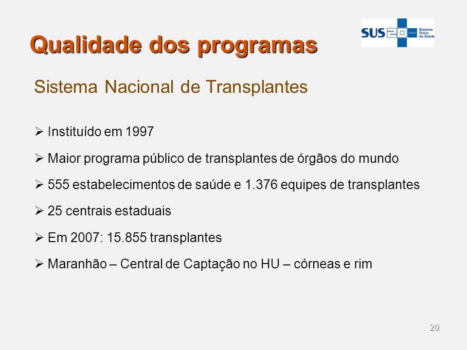 20 Qualidade dos programas Sistema Nacional de Transplantes Instituído em 1997 Maior programa público de transplantes de órgãos do mundo 555 estabelec