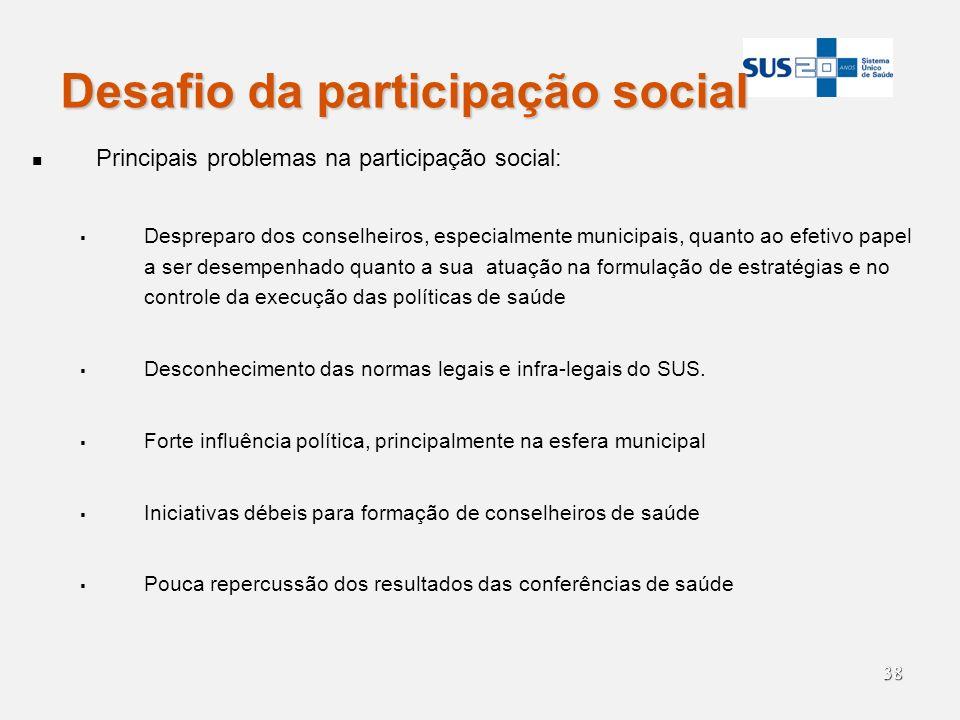 38 Desafio da participação social Principais problemas na participação social: Despreparo dos conselheiros, especialmente municipais, quanto ao efetiv