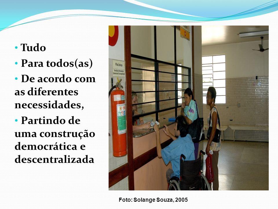Foto: Solange Souza, 2005 Tudo Para todos(as) De acordo com as diferentes necessidades, Partindo de uma construção democrática e descentralizada