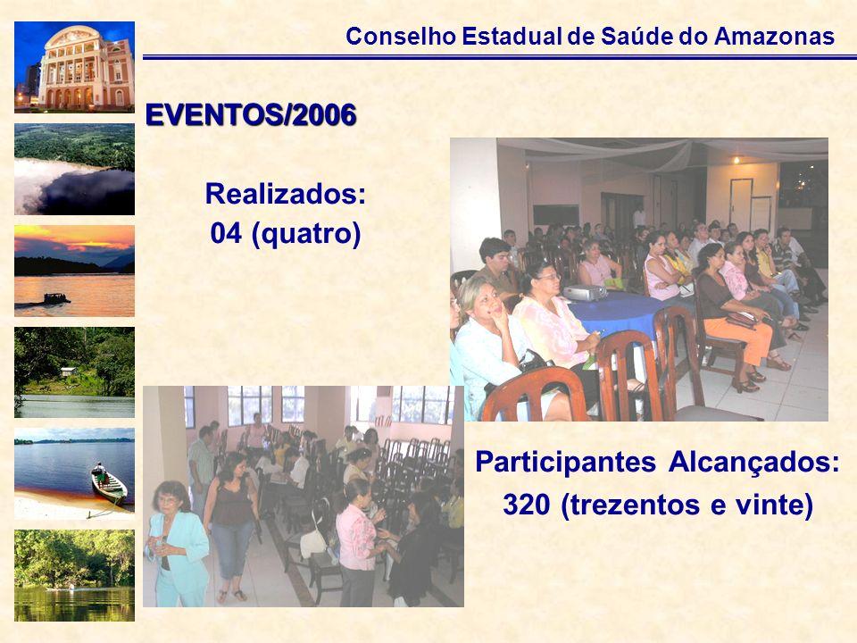 Conselho Estadual de Saúde do Amazonas Realizados: 04 (quatro) EVENTOS/2006 Participantes Alcançados: 320 (trezentos e vinte)