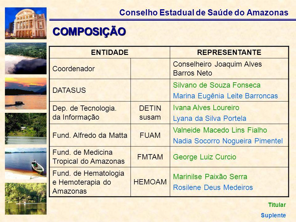 Conselho Estadual de Saúde do Amazonas COMPOSIÇÃO ENTIDADEREPRESENTANTE Coordenador Conselheiro Joaquim Alves Barros Neto DATASUS Silvano de Souza Fon