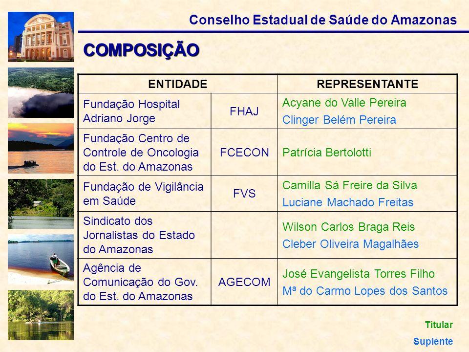 Conselho Estadual de Saúde do Amazonas COMPOSIÇÃO ENTIDADEREPRESENTANTE Fundação Hospital Adriano Jorge FHAJ Acyane do Valle Pereira Clinger Belém Per