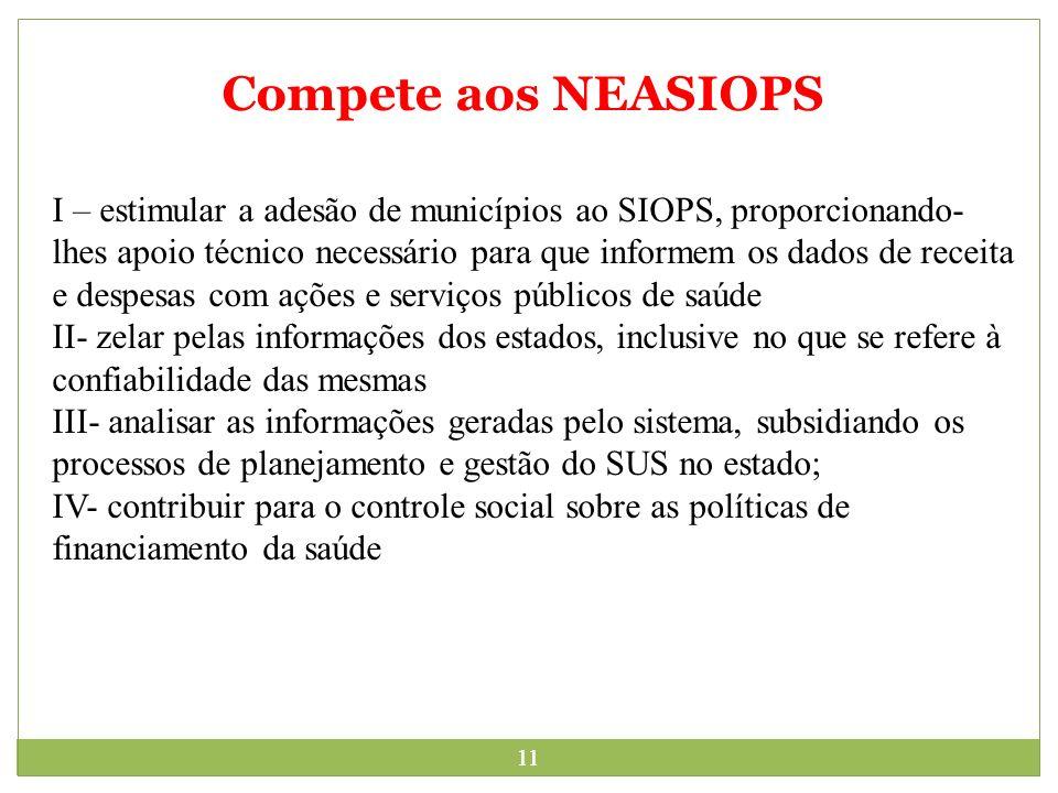 11 Compete aos NEASIOPS I – estimular a adesão de municípios ao SIOPS, proporcionando- lhes apoio técnico necessário para que informem os dados de rec