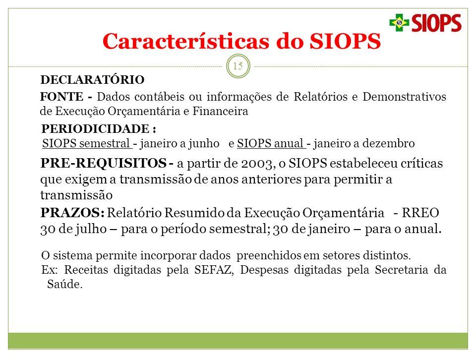 Características do SIOPS 15 DECLARATÓRIO FONTE - Dados contábeis ou informações de Relatórios e Demonstrativos de Execução Orçamentária e Financeira P