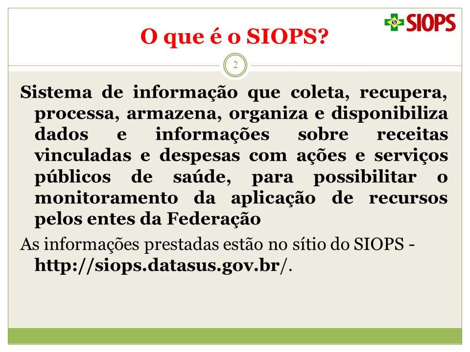 O que é o SIOPS? 2 Sistema de informação que coleta, recupera, processa, armazena, organiza e disponibiliza dados e informações sobre receitas vincula