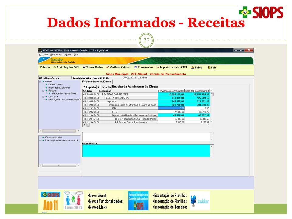 Dados Informados - Receitas 27