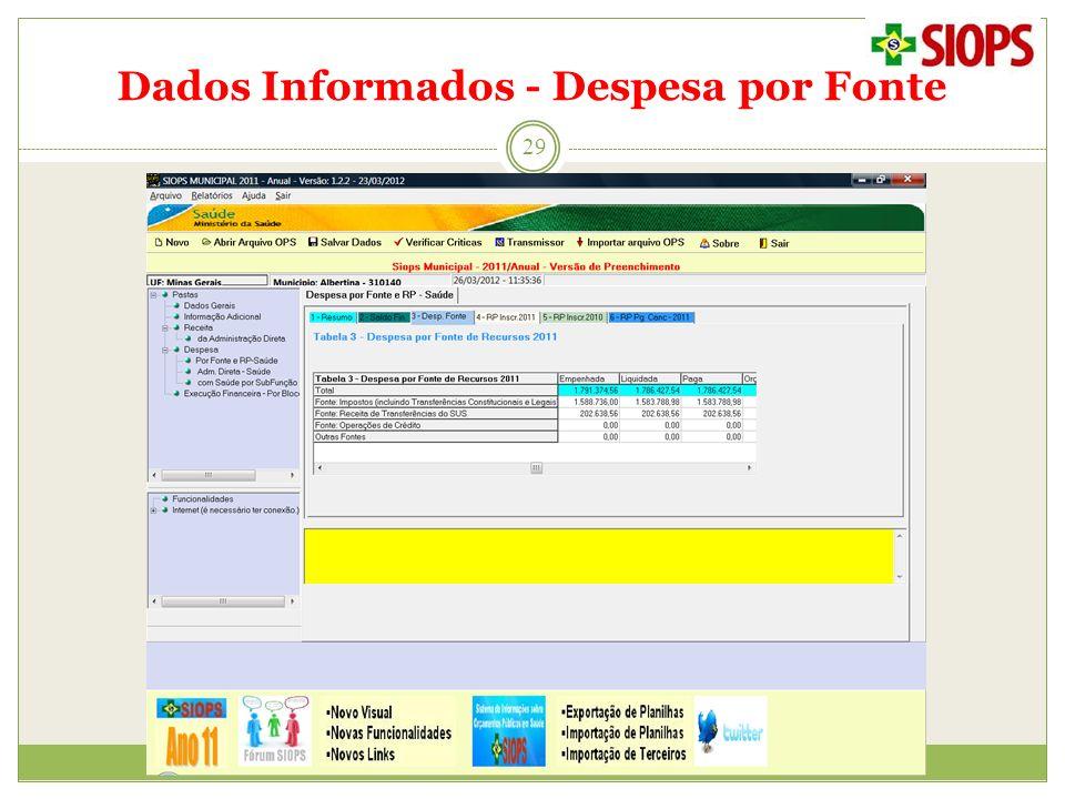 Dados Informados - Despesa por Fonte 29