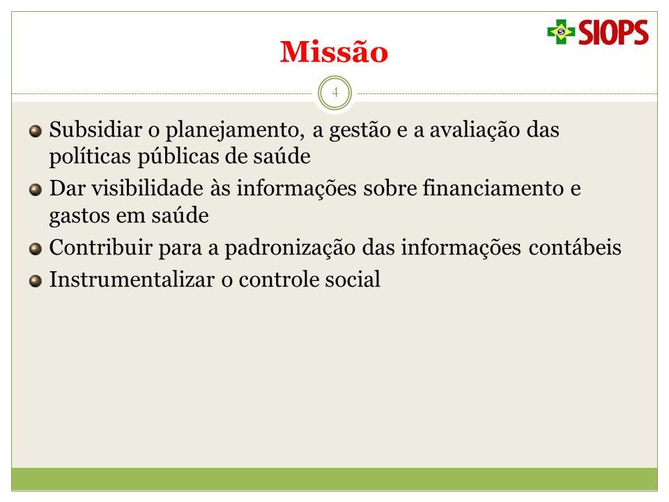 Missão 4 Subsidiar o planejamento, a gestão e a avaliação das políticas públicas de saúde Dar visibilidade às informações sobre financiamento e gastos