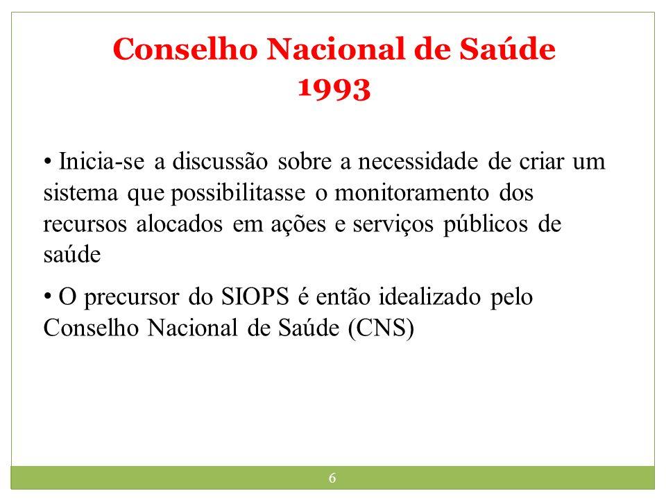 6 Conselho Nacional de Saúde 1993 Inicia-se a discussão sobre a necessidade de criar um sistema que possibilitasse o monitoramento dos recursos alocad