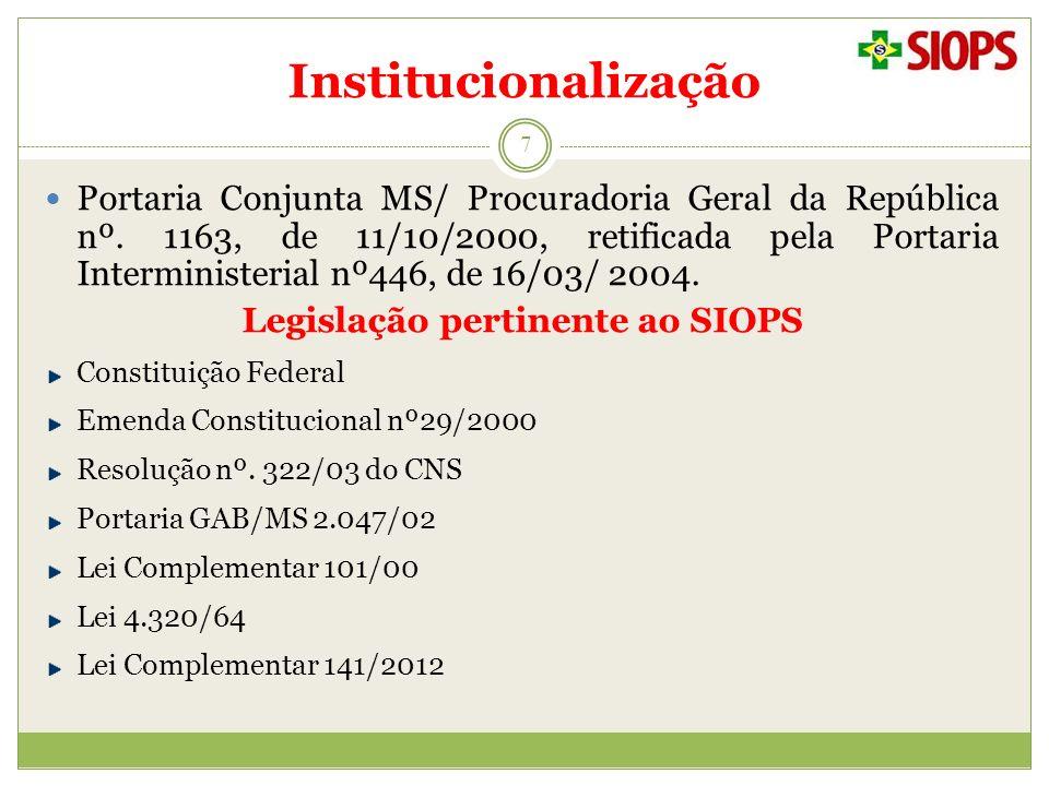 Institucionalização 7 Portaria Conjunta MS/ Procuradoria Geral da República nº. 1163, de 11/10/2000, retificada pela Portaria Interministerial nº446,