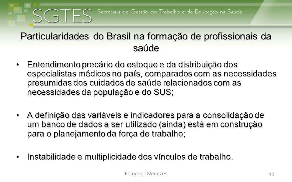 10 Fernando Menezes Particularidades do Brasil na formação de profissionais da saúde Entendimento precário do estoque e da distribuição dos especialis