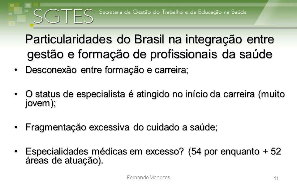 11 Fernando Menezes Particularidades do Brasil na integração entre gestão e formação de profissionais da saúde Desconexão entre formação e carreira;De