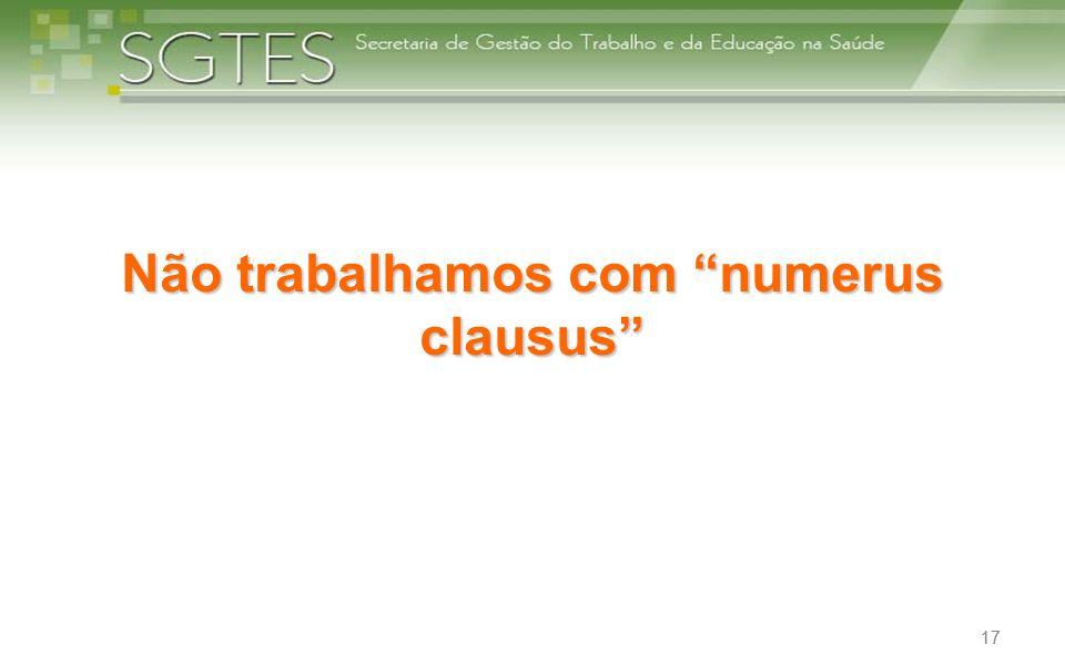 17 Não trabalhamos com numerus clausus 17