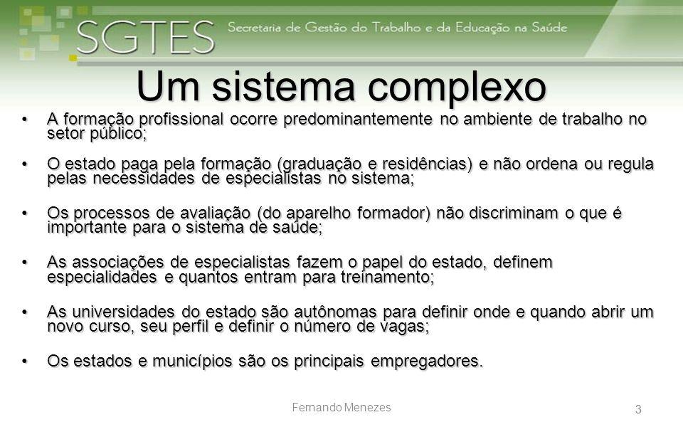 3 Fernando Menezes Um sistema complexo A formação profissional ocorre predominantemente no ambiente de trabalho no setor público;A formação profission