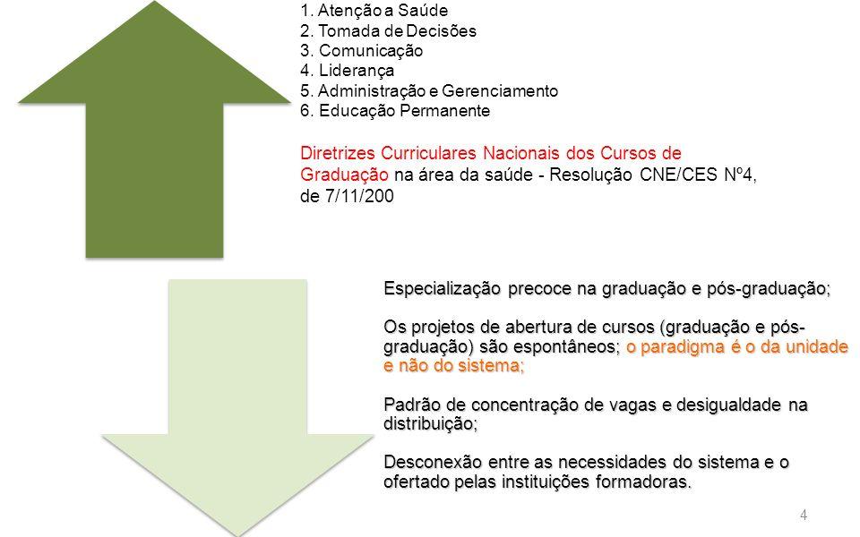 4 1. Atenção a Saúde 2. Tomada de Decisões 3. Comunicação 4. Liderança 5. Administração e Gerenciamento 6. Educação Permanente Diretrizes Curriculares