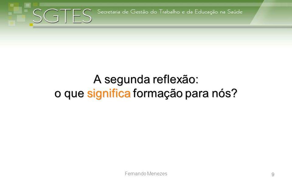 9 Fernando Menezes A segunda reflexão: o que significa formação para nós? 9