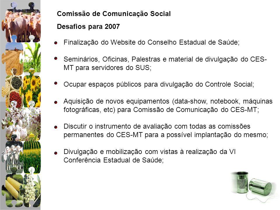 Comissão de Comunicação Social Desafios para 2007 Finalização do Website do Conselho Estadual de Saúde; Seminários, Oficinas, Palestras e material de
