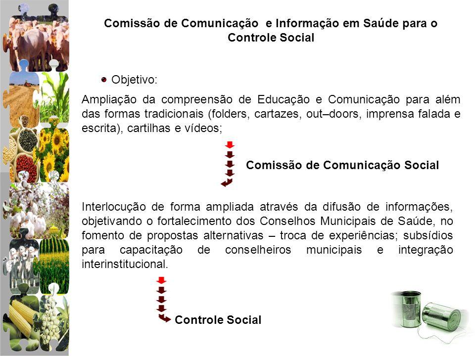 Comissão de Comunicação e Informação em Saúde para o Controle Social Objetivo: Ampliação da compreensão de Educação e Comunicação para além das formas