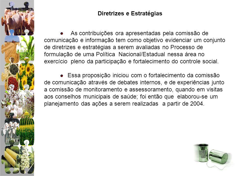 Comissão de Comunicação Social Resultados 2005 Ferramenta de Comunicação Visitas de Monitoramento aos Conselhos Municipais de Saúde Boletim Informativo (tiragem 1000 exemplares) Folders e Cartazes (tiragem 1000 exemplares) Camisetas (500 unidades) Botons (100 unidades) – Ouvidoria e CES Construção de site Mala Direta