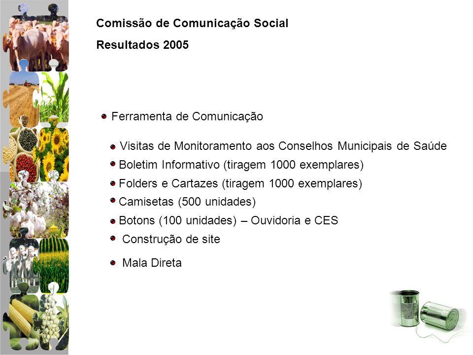 Comissão de Comunicação Social Resultados 2005 Ferramenta de Comunicação Visitas de Monitoramento aos Conselhos Municipais de Saúde Boletim Informativ