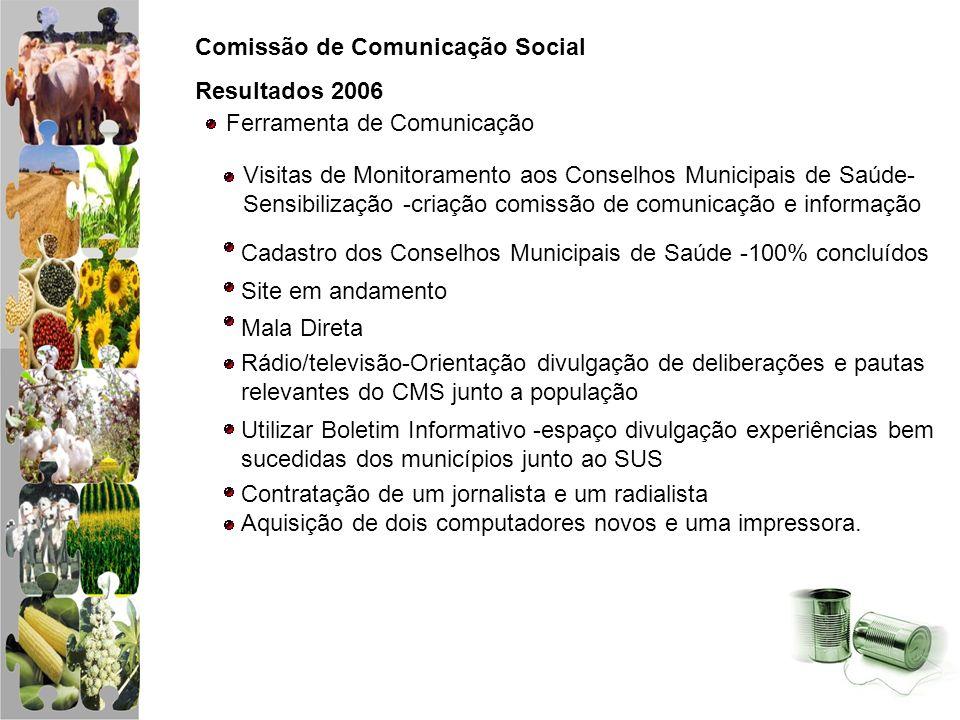 Comissão de Comunicação Social Resultados 2006 Ferramenta de Comunicação Visitas de Monitoramento aos Conselhos Municipais de Saúde- Sensibilização -c