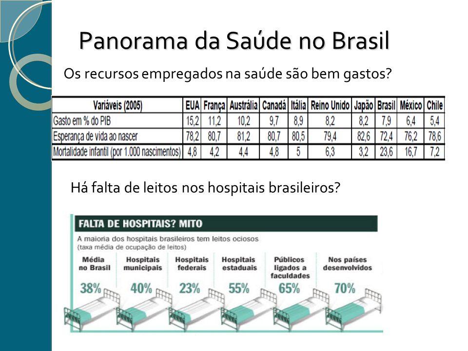 Panorama da Saúde no Brasil Os recursos empregados na saúde são bem gastos? Há falta de leitos nos hospitais brasileiros?
