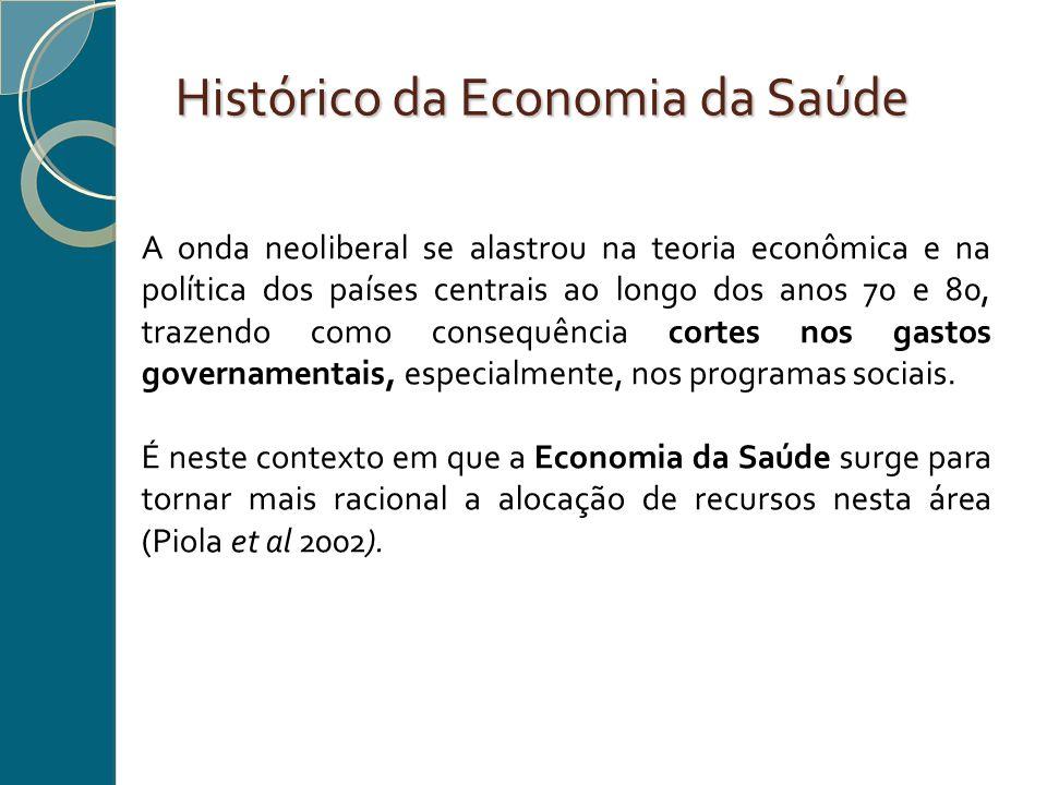 Histórico da Economia da Saúde A onda neoliberal se alastrou na teoria econômica e na política dos países centrais ao longo dos anos 70 e 80, trazendo