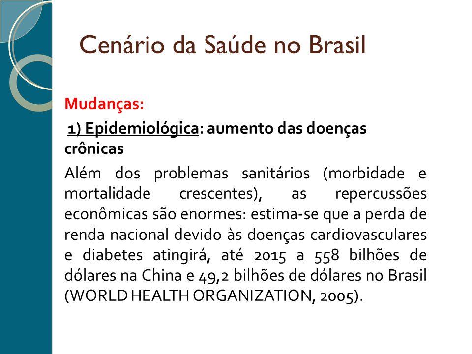 Mudanças: 1) Epidemiológica: aumento das doenças crônicas Além dos problemas sanitários (morbidade e mortalidade crescentes), as repercussões econômic