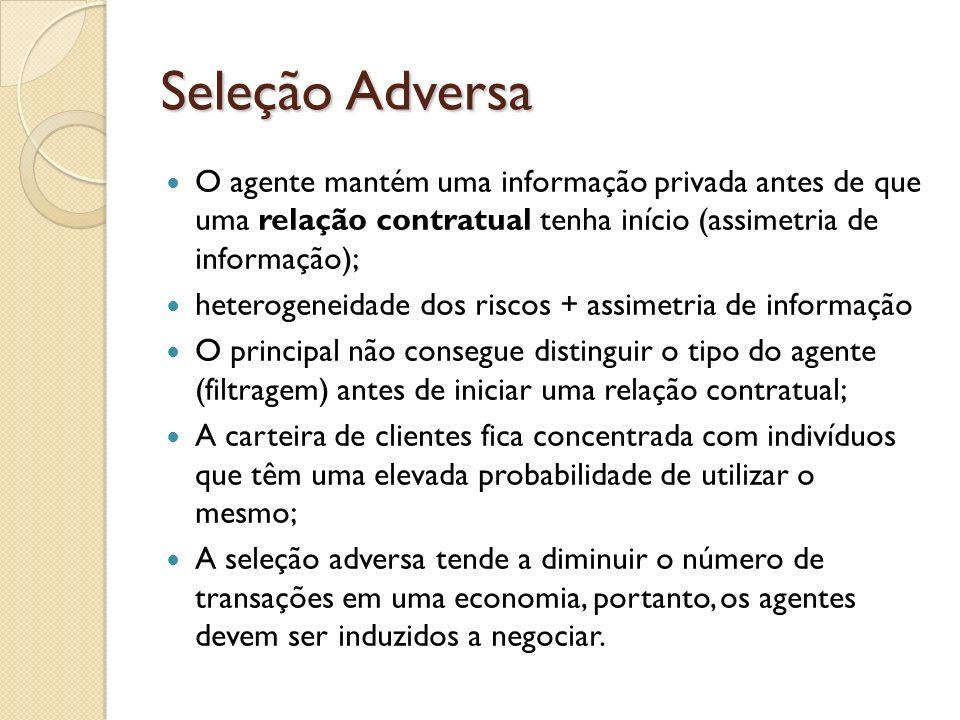Seleção Adversa O agente mantém uma informação privada antes de que uma relação contratual tenha início (assimetria de informação); heterogeneidade do