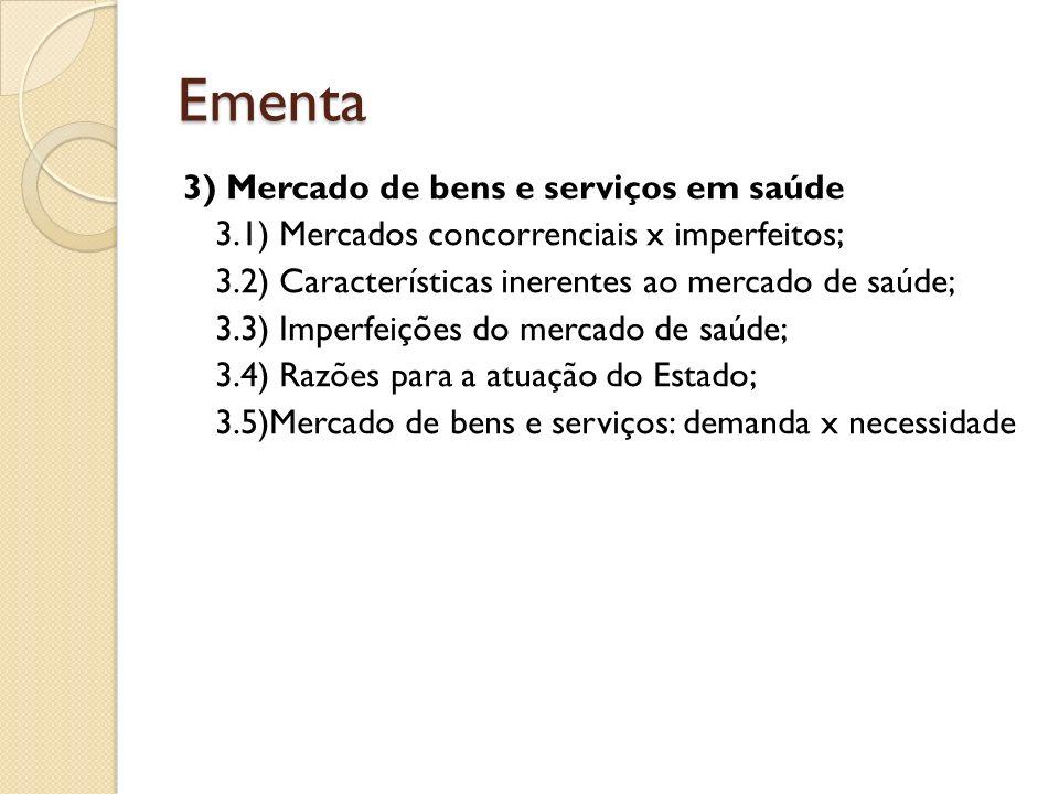 Ementa 3) Mercado de bens e serviços em saúde 3.1) Mercados concorrenciais x imperfeitos; 3.2) Características inerentes ao mercado de saúde; 3.3) Imp
