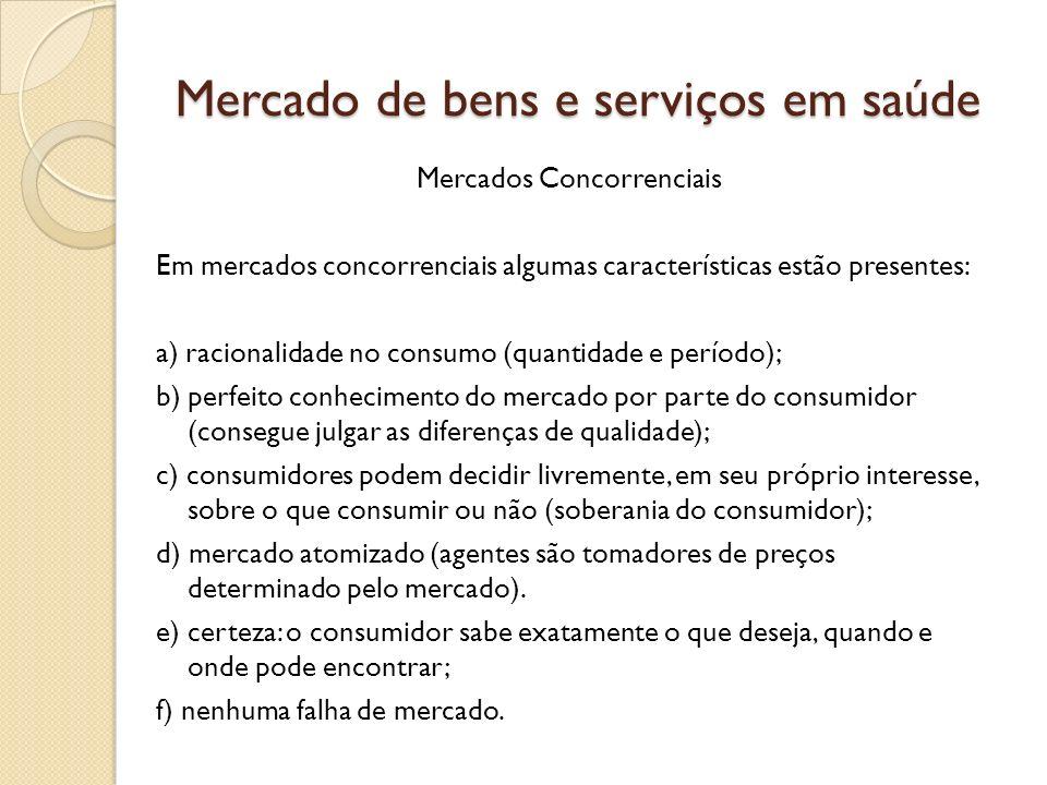 Mercado de bens e serviços em saúde Mercados Concorrenciais Em mercados concorrenciais algumas características estão presentes: a) racionalidade no co