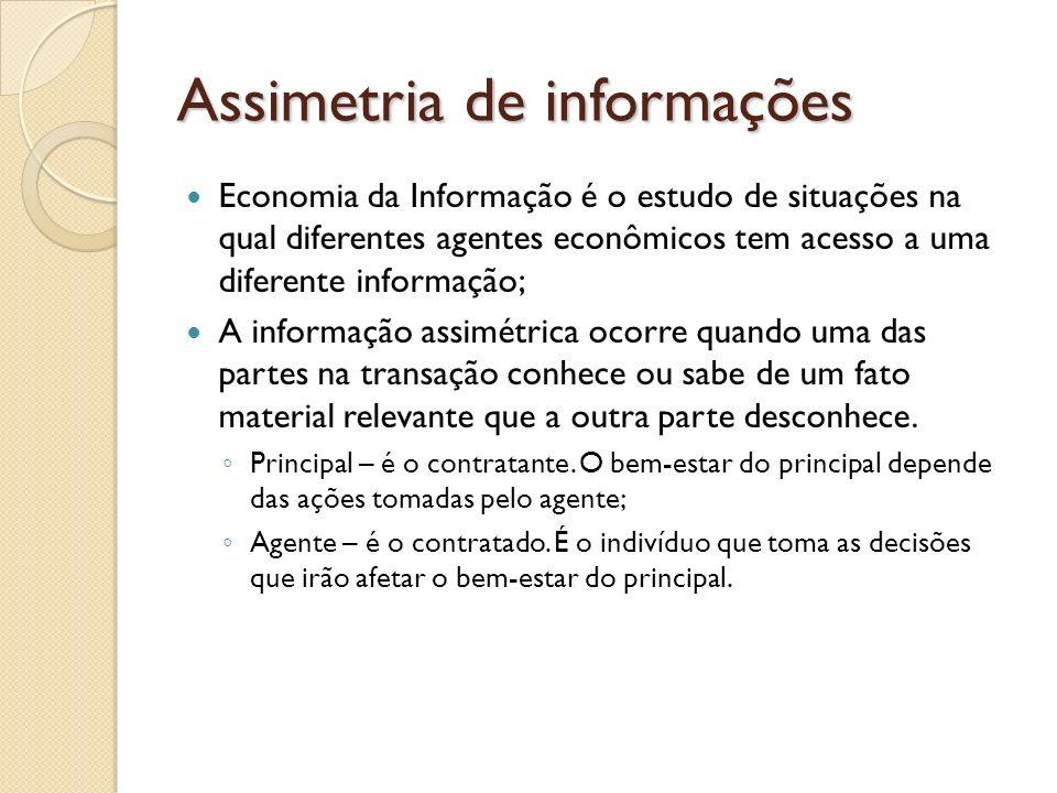 Assimetria de informações Economia da Informação é o estudo de situações na qual diferentes agentes econômicos tem acesso a uma diferente informação;