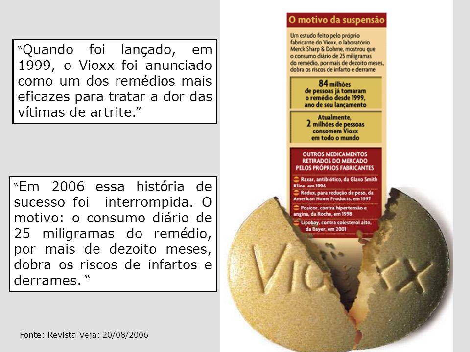 Quando foi lançado, em 1999, o Vioxx foi anunciado como um dos remédios mais eficazes para tratar a dor das vítimas de artrite. Em 2006 essa história