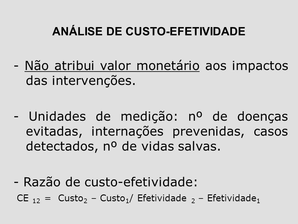 - Não atribui valor monetário aos impactos das intervenções. - Unidades de medição: nº de doenças evitadas, internações prevenidas, casos detectados,