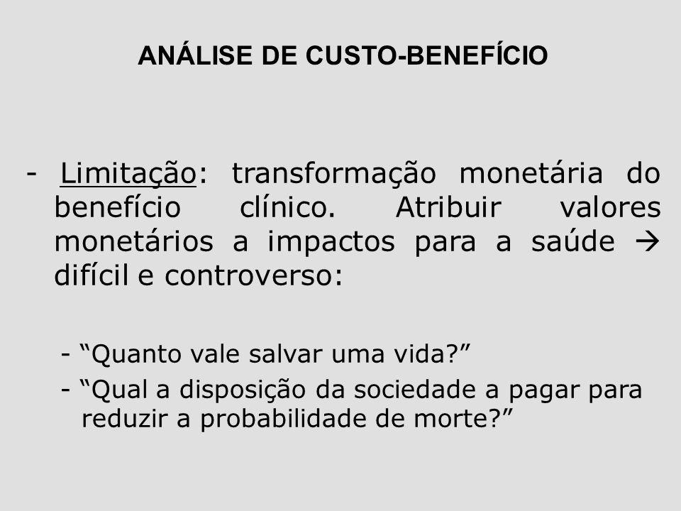 - Limitação: transformação monetária do benefício clínico. Atribuir valores monetários a impactos para a saúde difícil e controverso: - Quanto vale sa