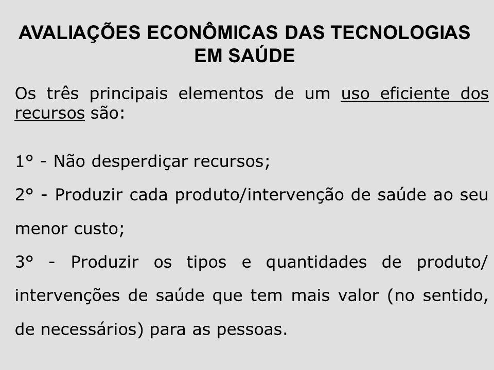 Os três principais elementos de um uso eficiente dos recursos são: 1° - Não desperdiçar recursos; 2° - Produzir cada produto/intervenção de saúde ao s