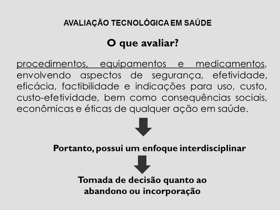 Análise Econômica em Saúde AVALIAÇÕES ECONÔMICAS DAS TECNOLOGIAS EM SAÚDE
