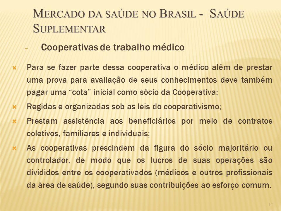 61 – Cooperativas de trabalho médico Para se fazer parte dessa cooperativa o médico além de prestar uma prova para avaliação de seus conhecimentos dev