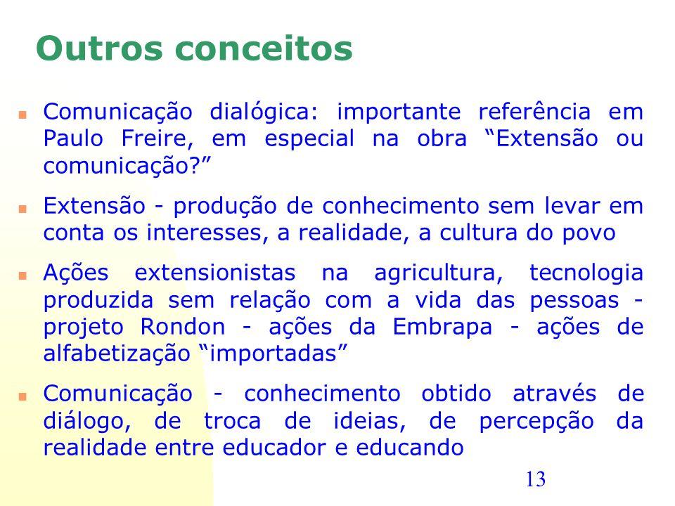 13 Outros conceitos Comunicação dialógica: importante referência em Paulo Freire, em especial na obra Extensão ou comunicação? Extensão - produção de