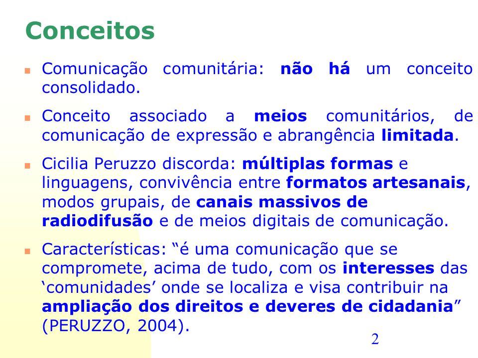 2 Conceitos Comunicação comunitária: não há um conceito consolidado. Conceito associado a meios comunitários, de comunicação de expressão e abrangênci