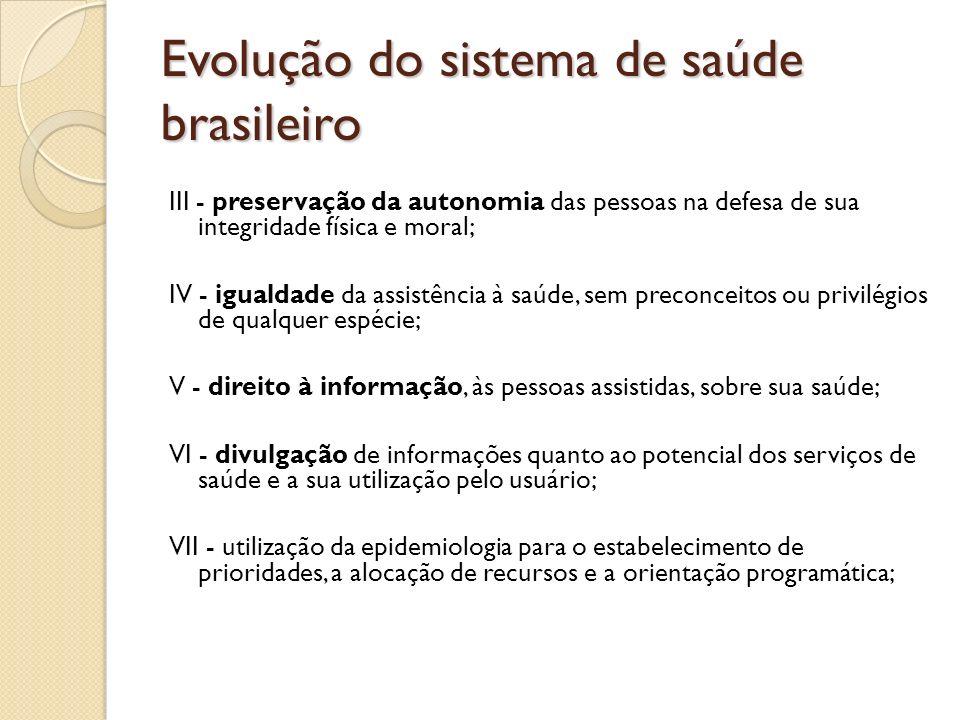Evolução do sistema de saúde brasileiro III - preservação da autonomia das pessoas na defesa de sua integridade física e moral; IV - igualdade da assi