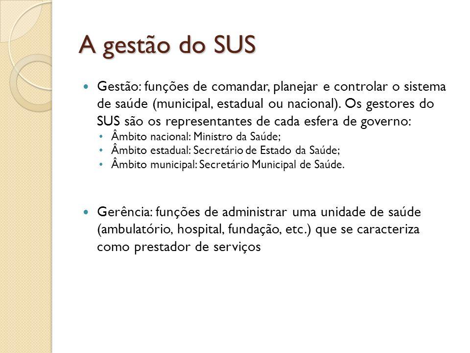 A gestão do SUS Gestão: funções de comandar, planejar e controlar o sistema de saúde (municipal, estadual ou nacional). Os gestores do SUS são os repr