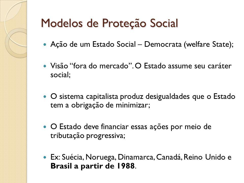 Modelos de Proteção Social Ação de um Estado Social – Democrata (welfare State); Visão fora do mercado. O Estado assume seu caráter social; O sistema