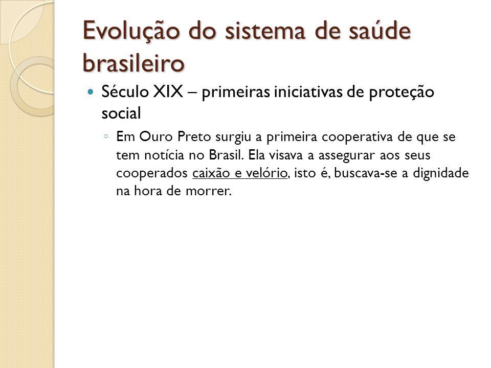 Evolução do sistema de saúde brasileiro Século XIX – primeiras iniciativas de proteção social Em Ouro Preto surgiu a primeira cooperativa de que se te