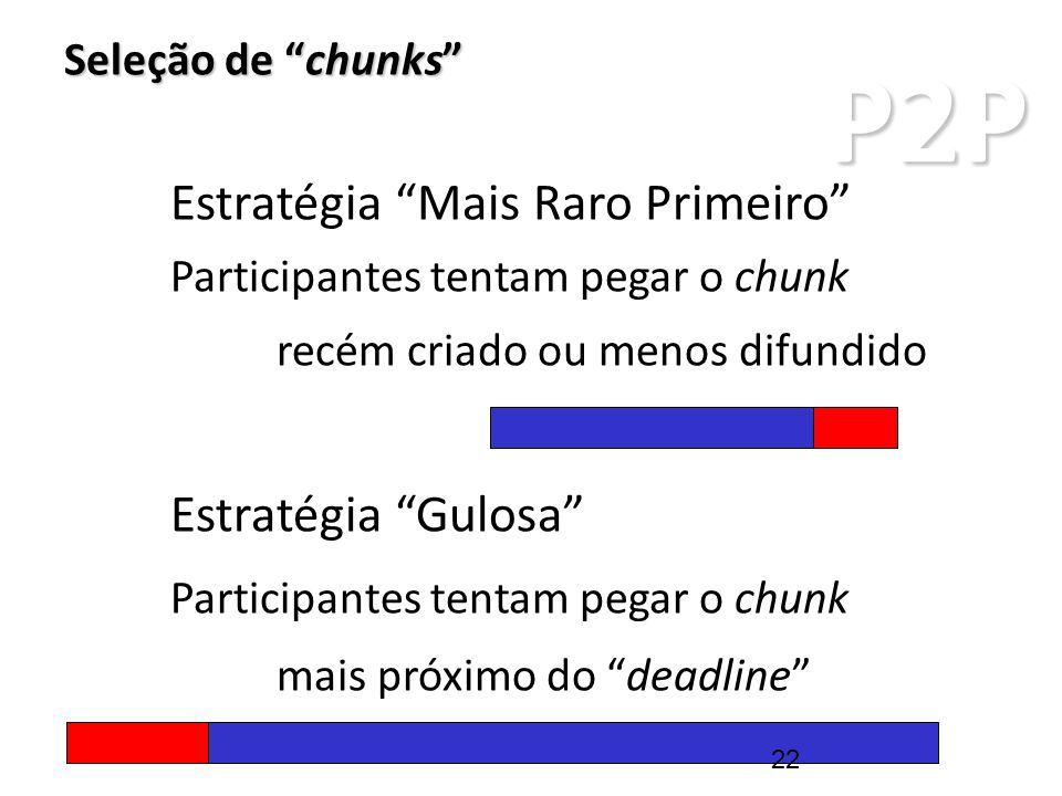 P2P Seleção de chunks Estratégia Mais Raro Primeiro Participantes tentam pegar o chunk recém criado ou menos difundido Estratégia Gulosa Participantes