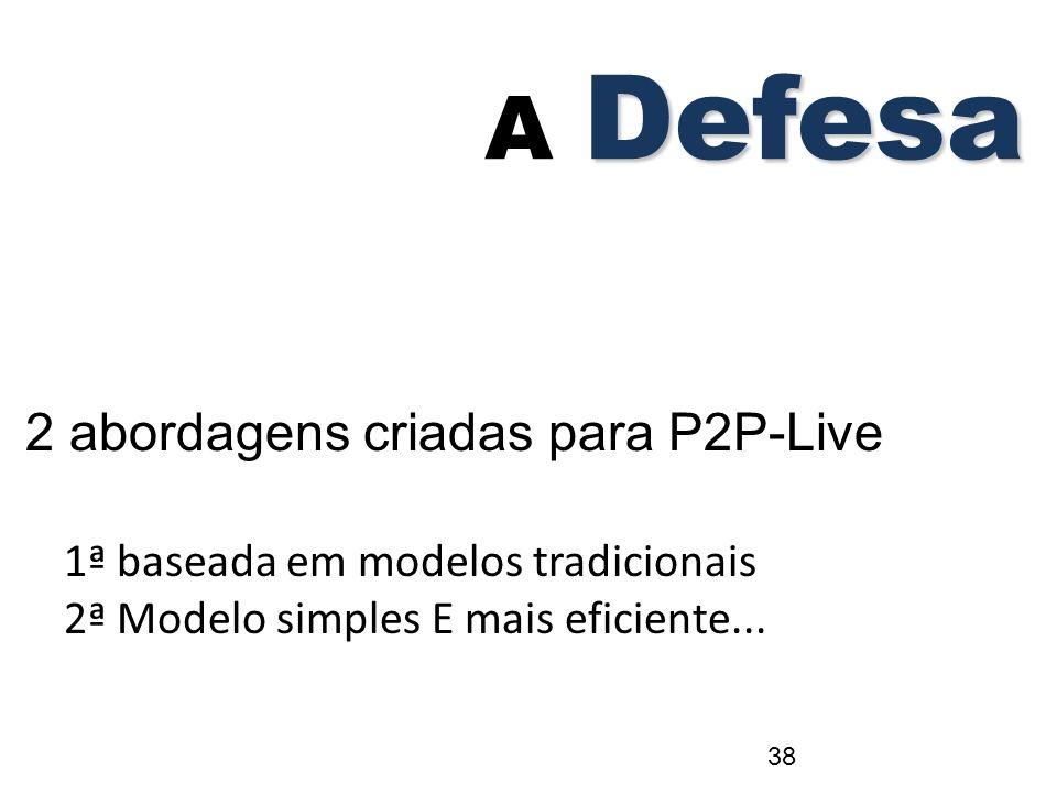 2 abordagens criadas para P2P-Live 1ª baseada em modelos tradicionais 2ª Modelo simples E mais eficiente... Defesa A Defesa 38